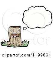 Cartoon Of A Tree Stump Thinking Royalty Free Vector Illustration by lineartestpilot