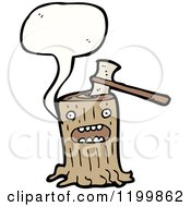Cartoon Of A Tree Stump Speaking Royalty Free Vector Illustration by lineartestpilot