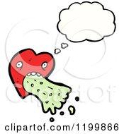 Cartoon Of A Vomiting Heart Thinking Royalty Free Vector Illustration
