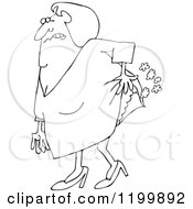 Cartoon Of An Outlined Old Lady Passing Gas Royalty Free Vector Clipart