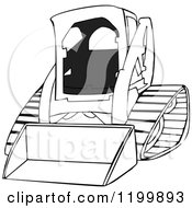 Cartoon Of An Outlined Bobcat Skid Steer Loader Royalty Free Vector Clipart by djart