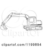 Cartoon Of An Outlined Trackhoe Excavator Royalty Free Vector Clipart by djart