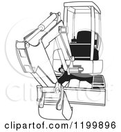 Cartoon Of An Outlined Mini Excavator Royalty Free Vector Clipart by Dennis Cox