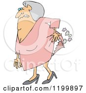Cartoon Of An Uncomfortable Old Lady Passing Gas Royalty Free Vector Clipart