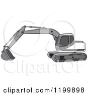 Cartoon Of A Gray Trackhoe Excavator Royalty Free Vector Clipart