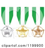 Clipart Of Silver Gold And Bronze Star Medals With Nigerian Flag Ribbons Royalty Free Vector Illustration