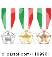 Clipart Of Silver Gold And Bronze Star Medals With Italian Flag Ribbons Royalty Free Vector Illustration