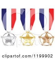 Clipart Of Silver Gold And Bronze Star Medals With French Flag Ribbons Royalty Free Vector Illustration