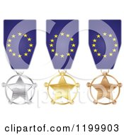 Clipart Of Silver Gold And Bronze Star Medals With European Flag Ribbons Royalty Free Vector Illustration
