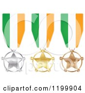 Clipart Of Silver Gold And Bronze Star Medals With Irish Flag Ribbons Royalty Free Vector Illustration