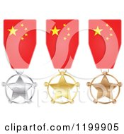 Clipart Of Silver Gold And Bronze Star Medals With Chinese Flag Ribbons Royalty Free Vector Illustration