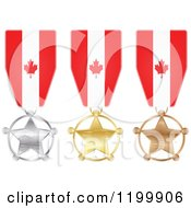 Clipart Of Silver Gold And Bronze Star Medals With Canadian Flag Ribbons Royalty Free Vector Illustration