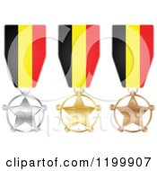 Clipart Of Silver Gold And Bronze Star Medals With Belgian Flag Ribbons Royalty Free Vector Illustration