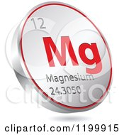 Clipart Of A 3d Floating Round Red And Silver Magnesium Chemical Element Icon Royalty Free Vector Illustration