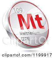 Clipart Of A 3d Floating Round Red And Silver Meitnerium Chemical Element Icon Royalty Free Vector Illustration