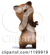 Clipart Of A 3d Bear Standing And Pointing To A Sign Royalty Free CGI Illustration
