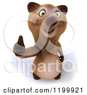 Clipart Of A 3d Happy Bear Holding A Thumb Up Royalty Free CGI Illustration