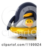 Clipart Of A 3d Penguin With A Duck Inner Tube Standing By A Sign Royalty Free CGI Illustration