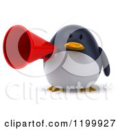 Clipart Of A 3d Penguin Using A Megaphone 3 Royalty Free CGI Illustration