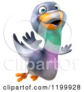 Clipart Of A 3d Happy Pigeon Mascot Flying Royalty Free CGI Illustration