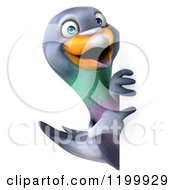 Clipart Of A 3d Pigeon Mascot Looking Around And Pointing At A Sign Royalty Free CGI Illustration