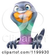 Clipart Of A 3d Happy Pigeon Mascot Over A Sign Royalty Free CGI Illustration