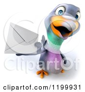 Clipart Of A 3d Pigeon Mascot Holding Out An Envelope Royalty Free CGI Illustration