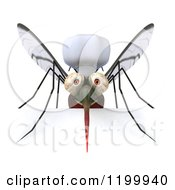Clipart Of A 3d Mosquito Chef Over A Sign Royalty Free CGI Illustration