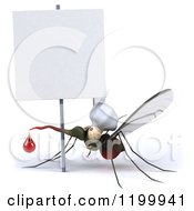 Clipart Of A 3d Mosquito Chef With Blood Under A Sign Royalty Free CGI Illustration