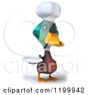 Clipart Of A 3d Chef Mallard Duck Holding A Plate 2 Royalty Free CGI Illustration