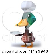 Clipart Of A 3d Chef Mallard Duck Holding A Plate 3 Royalty Free CGI Illustration