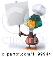 Clipart Of A 3d Chef Mallard Duck With A Sign 3 Royalty Free CGI Illustration