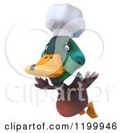 Clipart Of A 3d Chef Mallard Duck Flying Royalty Free CGI Illustration