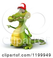 Clipart Of A 3d Crocodile Wearing A Baseball Cap And Pointing Royalty Free CGI Illustration