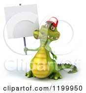 Clipart Of A 3d Crocodile Wearing A Baseball Cap And Holding A Sign Royalty Free CGI Illustration