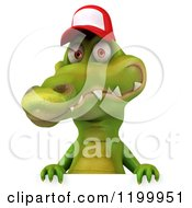 Clipart Of A 3d Crocodile Wearing A Baseball Cap Over A Sign Royalty Free CGI Illustration
