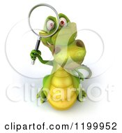 Clipart Of A 3d Crocodile Searching With A Magnifying Glass Royalty Free CGI Illustration