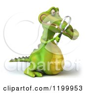 Clipart Of A 3d Crocodile Searching With A Magnifying Glass 2 Royalty Free CGI Illustration