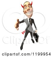Clipart Of A 3d Con Artist Business Man Reaching Out To Shake Hands 2 Royalty Free CGI Illustration