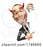 Clipart Of A 3d Con Artist Business Man Pointing To A Sign Royalty Free CGI Illustration