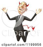 Clipart Of A 3d Con Artist Business Man Jumping Royalty Free CGI Illustration