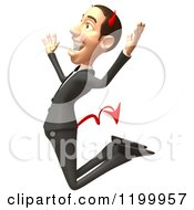 Clipart Of A 3d Con Artist Business Man Jumping 2 Royalty Free CGI Illustration