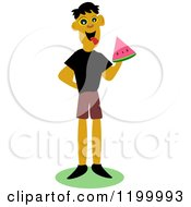 Cartoon Of A Happy Man Eating Watermelon Royalty Free Vector Clipart by bpearth