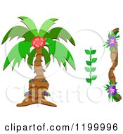 Cartoon Of A Palm Tree And Tropical Plants Royalty Free Vector Clipart by bpearth