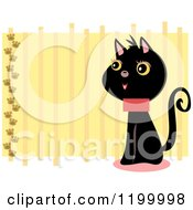 Happy Black Cat With Paw Prints And Yellow Stripes