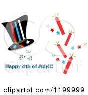 Cartoon Of A Top Hat With Firecrackers Stars And Happy 4th Of July Text Royalty Free Vector Clipart by bpearth