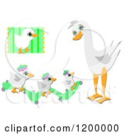 Cartoon Of A Cute Goose And Goslings Royalty Free Vector Clipart by bpearth