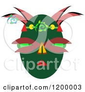 Cartoon Of A Green And Red Tribal Mask Royalty Free Vector Clipart by bpearth