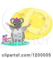 Cartoon Of A Happy Mouse And Gift Box Over A Yellow Foral Oval Royalty Free Vector Clipart by bpearth
