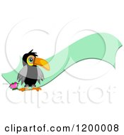 Cartoon Of A Toucan And Green Ribbon Banner Royalty Free Vector Clipart by bpearth